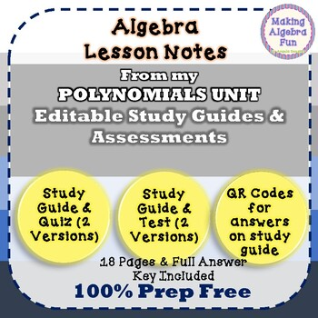 Multiplying Dividing & Applications Polynomials Study Guides Quizzes & Tests