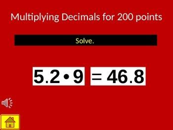 Multiplying & Dividing Decimals Bazinga Review Game