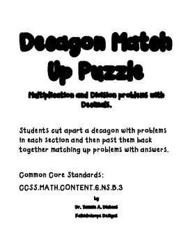 Multiplying & Dividing Decimals Decagon Puzzle