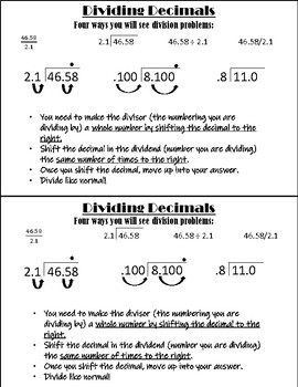 Multiplying & Dividing Decimals Note Page