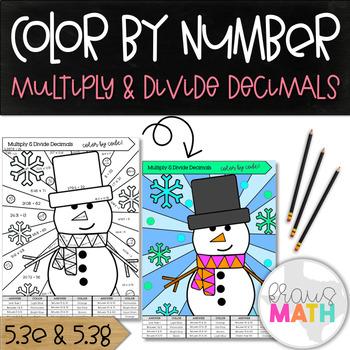 Multiplying & Dividing Decimals Practice: Color by Code! (Winter Wonderland)