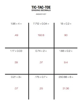 Multiplying & Dividing Decimals Review Activity - Partner Tic Tac Toe