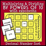 Multiplying + Dividing Decimals by Powers of 10 Game (w Exponents), Math Center