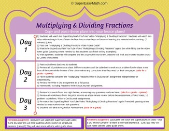 Multiplying & Dividing Fractions 3 Day Lessons with Videos!