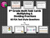 Multiplying & Dividing Fractions 60 Task Cards 5th Grade FSA Style INK SAVER
