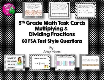 Multiplying & Dividing Fractions 60 Task Cards 5th Grade F
