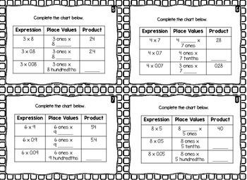 Multiplying & Dividing Decimals 60 Task Cards 5th Grade FSA Style INK SAVER