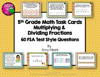 Multiplying & Dividing Fractions 60 Task Cards 5th Grade F