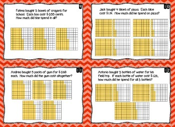 Multiplying & Dividing Decimals 60 Task Cards 5th Grade FSA Style Questions