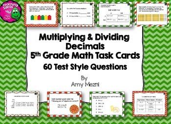Multiplying & Dividing Decimals 60 Task Cards 5th Grade FS