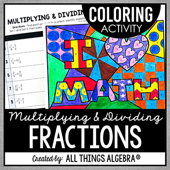 Multiplying and Dividing Fractions Coloring Activity