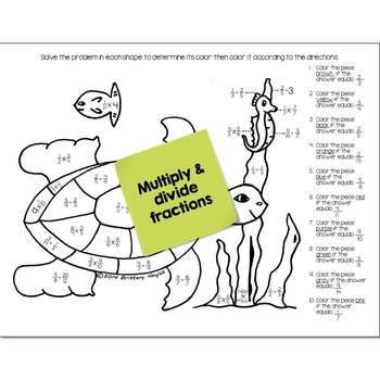 Multiply & Divide Fractions Math Practice Under the Sea Color by Number
