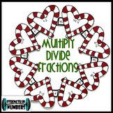 Multiplying & Dividing Fractions Mixed Numbers Candy Cane Christmas Wreath