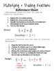 Multiplying/Dividing Fractions Practice & Reference Sheet