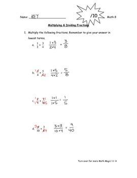 Multiplying & Dividing Fractions Quiz
