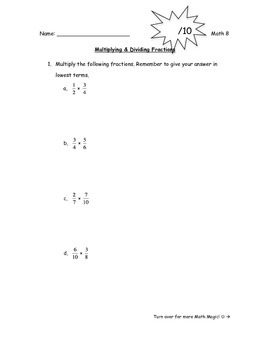 Multiplying & Dividing Fractions Quiz