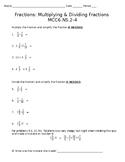 Multiplying & Dividing Fractions Quiz - Sixth Grade Math