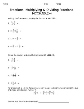 Multiplying & Dividing Fractions Quiz - Sixth Grade Math