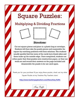 Multiplying & Dividing Fractions: Square Puzzles