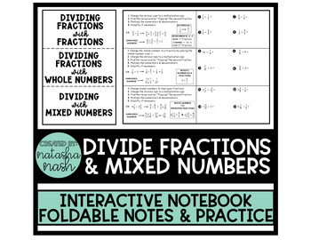 Multiplying & Dividing Fractions and Mixed Numbers Foldable (2 Foldables)