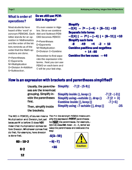 Algebra: Multiplying Dividing Integers