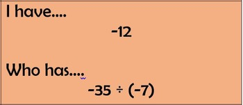 Multiplying / Dividing Integers - I Have ... Who Has Game - 36 cards