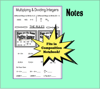 Multiplying/Dividing Integers Notes & Card Sort Activity - + Freebie