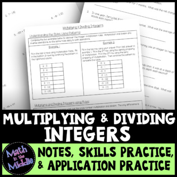 Multiplying & Dividing Integers - Notes, Practice, and Application Pack