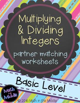 Multiplying & Dividing Integers Partner Matching Activity