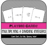 Multiplying & Dividing Integers Playing Cards (Games)