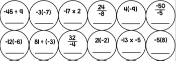 Multiplying & Dividing Integers Quick Color Activity
