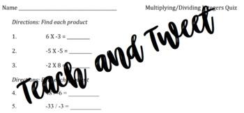 Multiplying/Dividing Integers Quiz