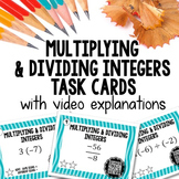 Multiplying & Dividing Integers Task Cards with video explanations