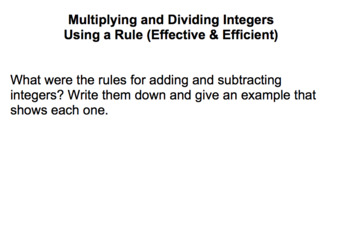 Multiplying & Dividing Integers using a Rule