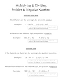 Multiplying & Dividing Positive and Negative Numbers