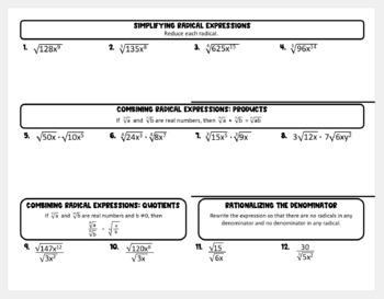 Multiplying & Dividing Radical Expressions (Algebra 2 Foldable)