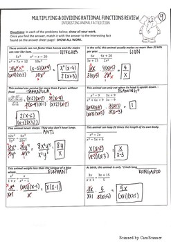 Multiplying & Dividing Rational Expressions Interesting Facts Activity