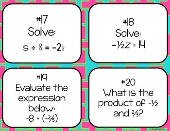 Multiplying + Dividing Rational Numbers Task Cards