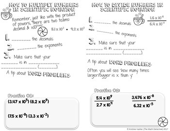 Multiplying & Dividing Scientific Notation - Decorated Notes Brochure for INBs
