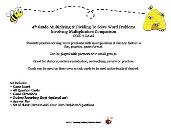 Multiplying/Dividing For Word Problems With Multiplicative