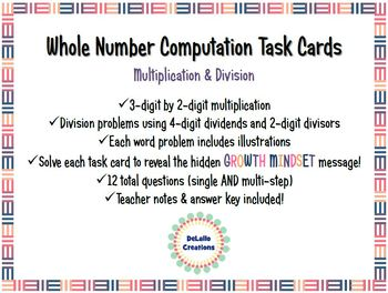 Multiplying & Dividing Whole Number Task Cards