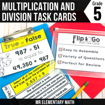 Multiplying & Dividing Whole Numbers - 5th Grade Math Flip & Go Cards