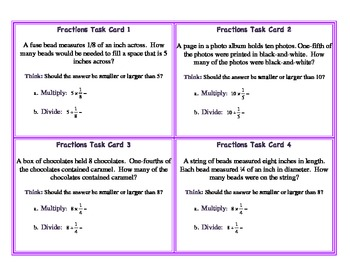 Multiplying Dividing Whole Numbers and Fractions Word Problems Task Cards