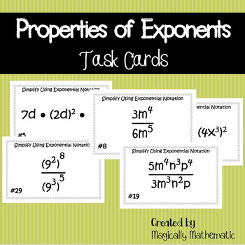 Multiplying, Dividing, and Power to Power Laws of Exponent