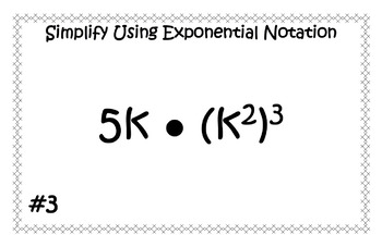 Multiplying, Dividing, and Power to Power Laws of Exponents Task Cards