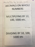 Multiplying & Dividing by 10, 100, & 1000 Interactive Notebook Foldable