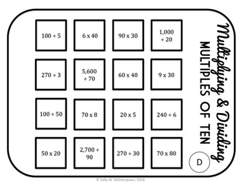 Multiplying & Dividing by Multiples of 10, Number Sorting Game, 4.NBT.1