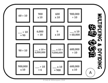 Multiplying & Dividing by Ten Number Sorting Game, 4th Grade, 10 Rounds