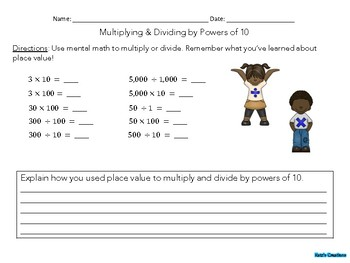Multiplying & Dividing by Powers of 10 (whole numbers)
