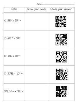 Multiplying & Dividing by Powers of Ten QR Code Practice Common Core 5.NBT.2
